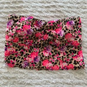 Strapless Floral Leopard PINK Bralette Size Small